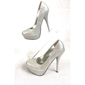 Speed Limit 98 Silver Glitter Stiletto Heel SZ6